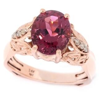 Michael Valitutti 14K Rose Gold Pink Tourmaline & Diamond Ring