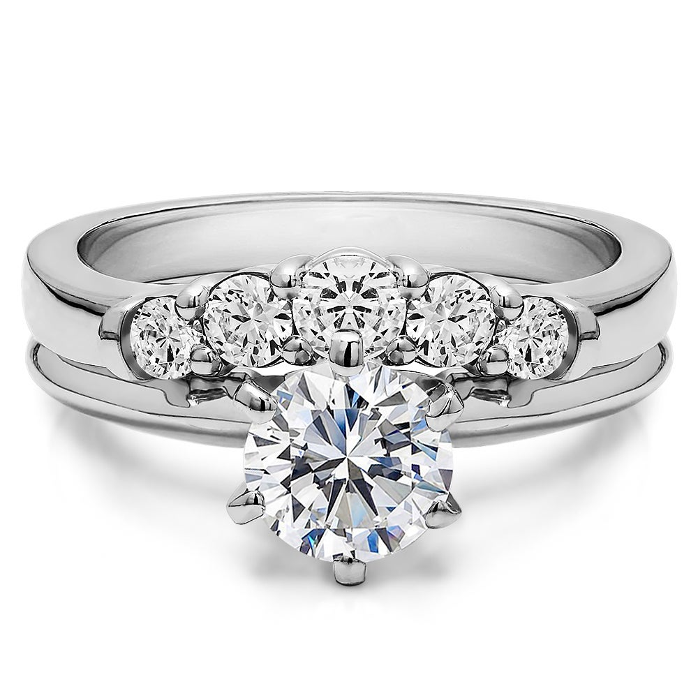 TwoBirch Curved Wedding Ring Set Includes: 1 CT. Round CZ...