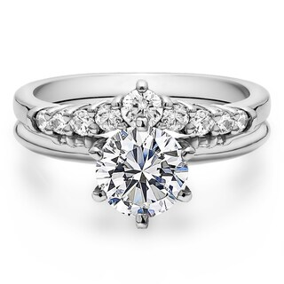 Curved Wedding Ring Set Includes: 1 CT. Round CZ Solitaire With Sterling Silver Band With Cubic Zirc