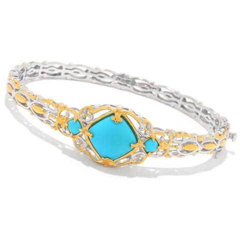Michael Valitutti Palladium Silver Sleeping Beauty Turquoise Three-Stone Bangle Bracelet