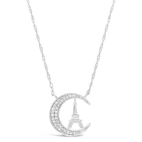 Sterling Silver 1/10 ct. TDW  Eiffel Tower on Moon Pendant Necklace