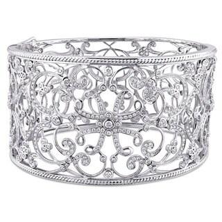 Miadora Signature Collection 14k White Gold 3 1/4ct TDW Diamond Filigree Openwork Bangle