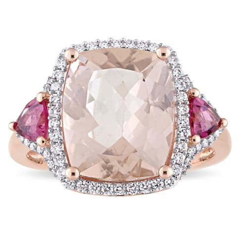 Miadora Signature Collection 14k Rose Gold Morganite Pink Tourmaline and 1/3ct TDW Diamond Statement