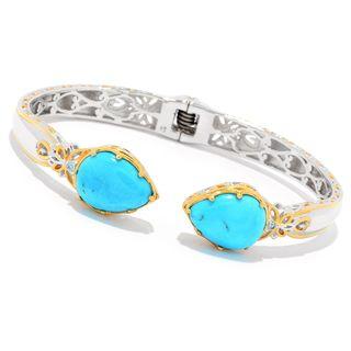 "Michael Valitutti Palladium Silver Kingman Turquoise Kissing & Swiss Blue Topaz Cuff Bracelet - 7.25"""