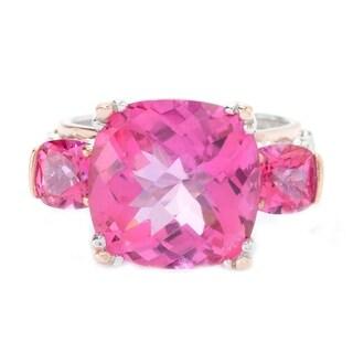 Michael Valitutti Palladium Silver Checkerboard Cut Pink Topaz Three-Stone Ring