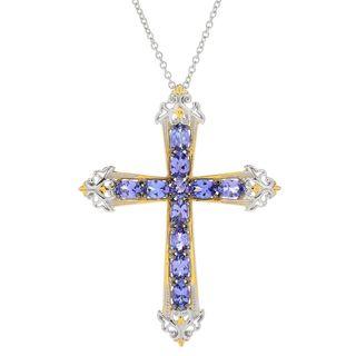 Michael Valitutti Palladium Silver Tanzanite Cross Pendant