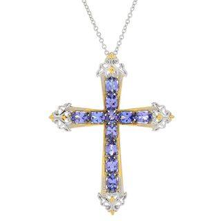 Michael Valitutti Palladium Silver Tanzanite Cross Pendant|https://ak1.ostkcdn.com/images/products/15630572/P22062461.jpg?impolicy=medium