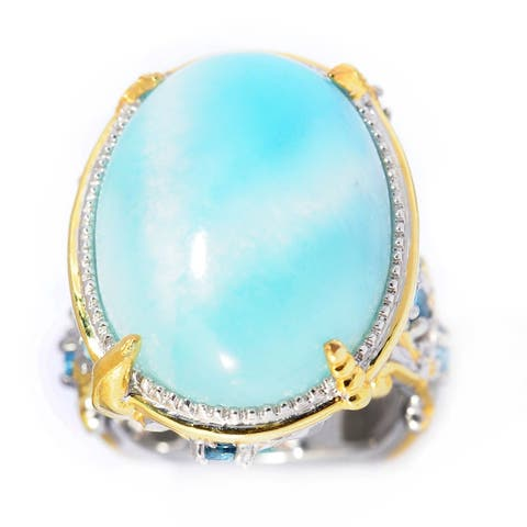 Michael Valitutti Palladium Silver Larimar & Multi Gemstone Sea Life Ring