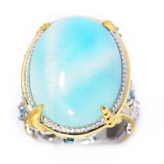 Michael Valitutti Palladium Silver Larimar & Multi Gemstone Sea Life Ring (Option: Gold Overlay)