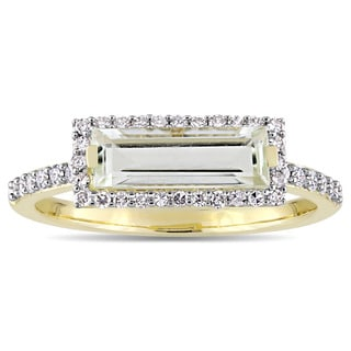 Miadora Signature Collection 14k Yellow Gold Baguette-Cut Green Amethyst and 1/4ct TDW Diamond Halo Slender Ring