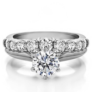 Curved Wedding Ring Set Includes: 1 CT. Round CZ Solitaire With Sterling  Silver Band
