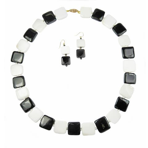Black Agate, and white Agate in 14k gold necklace and earring set by Pearl Lustre.