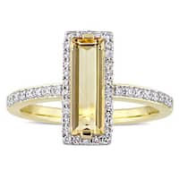 Miadora Signature Collection 14k Yellow Gold Baguette-Cut Citrine and 1/3ct TDW Diamond Halo Slender
