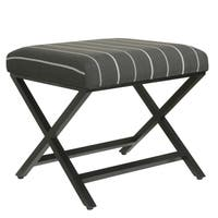 HomePop Modern Metal X-base Ottoman - Charcoal Stripe