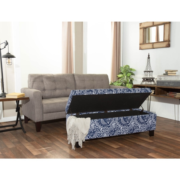 Shop Somette Hartly Blue And White Printed Storage Ottoman Bench