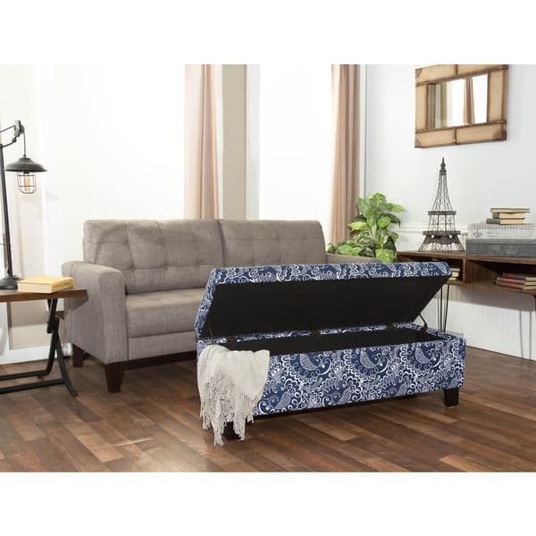 Miraculous Shop Somette Hartly Blue And White Printed Storage Ottoman Caraccident5 Cool Chair Designs And Ideas Caraccident5Info