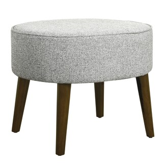HomePop Mid Century Oval Ottoman with Wood Legs - Ash Grey