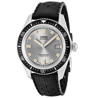 Oris Men's 733 7720 4051 LS 18 'Divers 65' Silver Dial Black Rubber Strap Swiss Automatic Watch