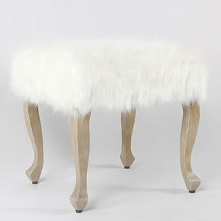 HomePop Faux Fur Ottoman with Wood Legs - White