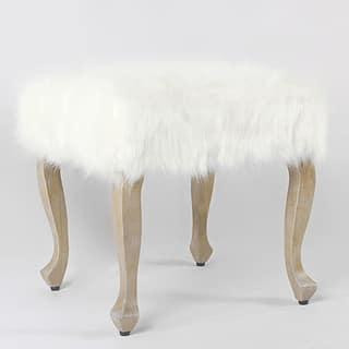 Maison Rouge Viele Faux Fur Ottoman With Wood Legs White