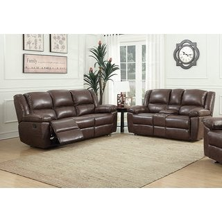 US Pride Furniture Oregon Brown Hot Stamping Cloth Fabric 2-piece Recliner Sofa and Console Loveseat Set
