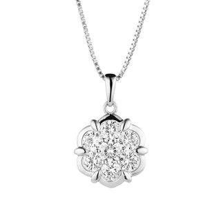 Charles & Colvard Sterling Silver 1 1/5ct DEW Round Forever Classic Moissanite Flower Pendant (Option: Sterling Silver)