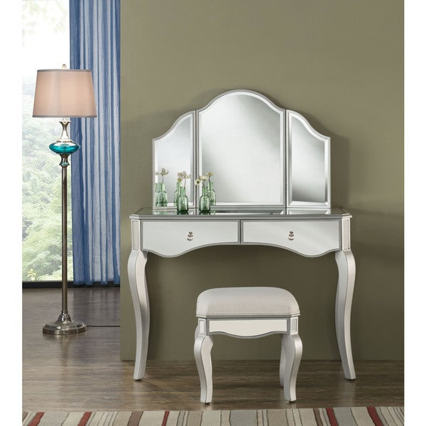 Elegant Lighting Contempo Vanity Table Mirror And Chair