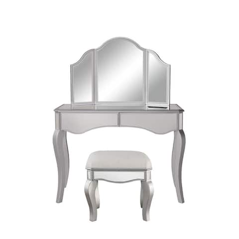 Elegant Lighting Contempo Vanity Table, Mirror, and Chair Set