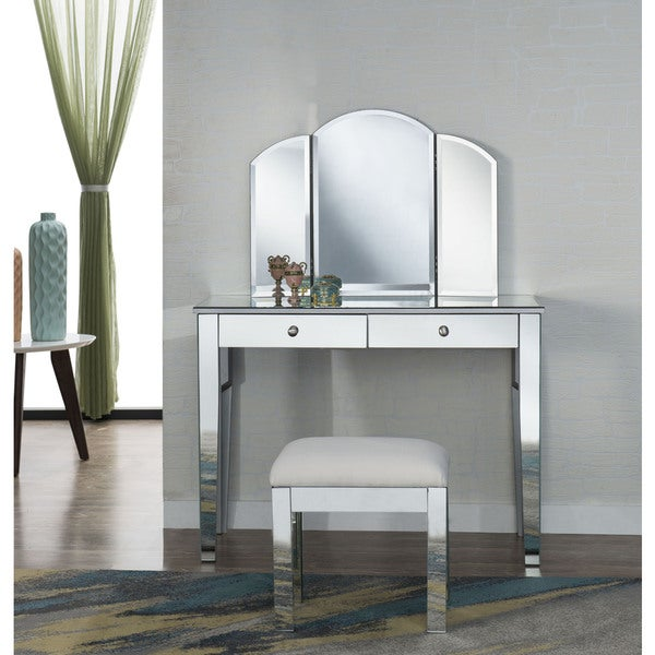 Elegant Lighting Contempo Vanity Table Mirror And Chair Set
