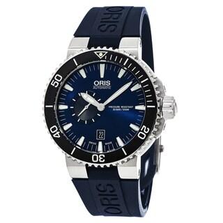 Oris Men's 743 7673 4135 RS 35 'Aquis' Blue Dial Blue Rubber Strap Swiss Automatic Watch
