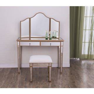 vanity table. Elegant Lighting Contempo Vanity Table  Mirror And Chair Set At Overstock