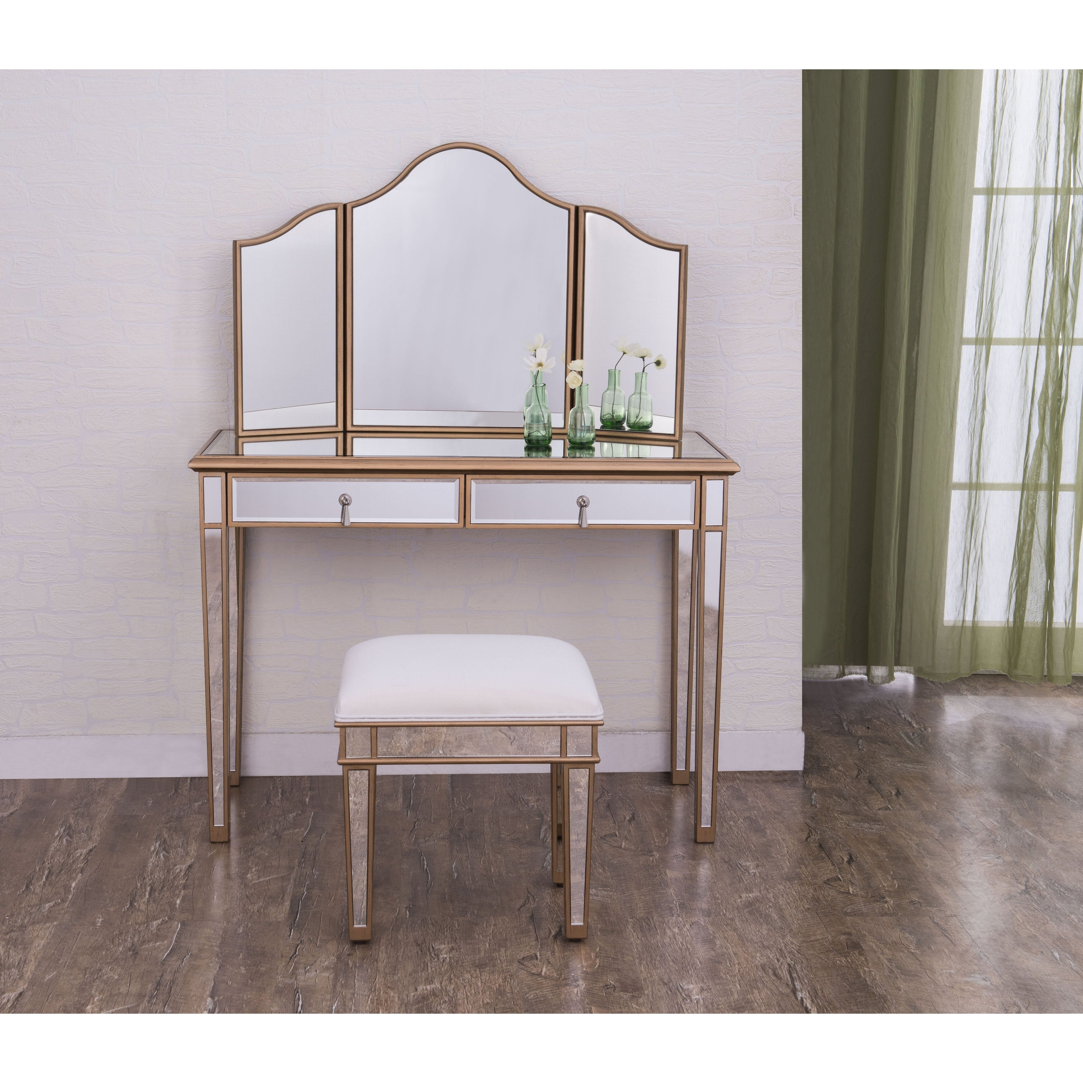 Elegant Lighting Contempo Two Drawer Dressing Table (Two ...