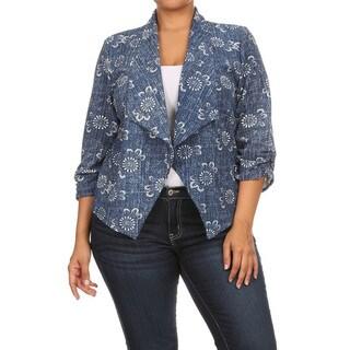 Women's Plus Size Denim Blazer Style Jacket