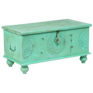 "Handmade Leela Distressed Mint Green Medallion Coffee Table Trunk - 18"" x 18"" x 35"" (India)"