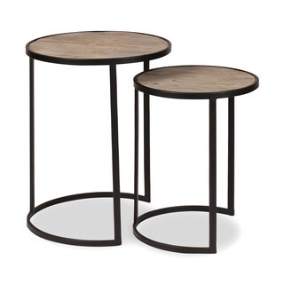 Kate and Laurel Gracen Metal and Wood Nesting Tables 2 Piece Set, Black and Natural Wood