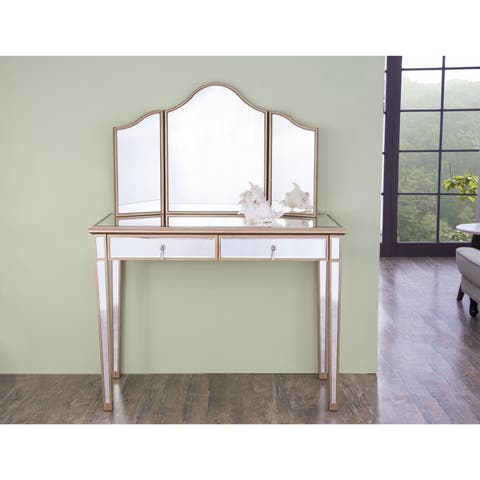 Elegant Lighting Contempo Vanity Table and Mirror Set