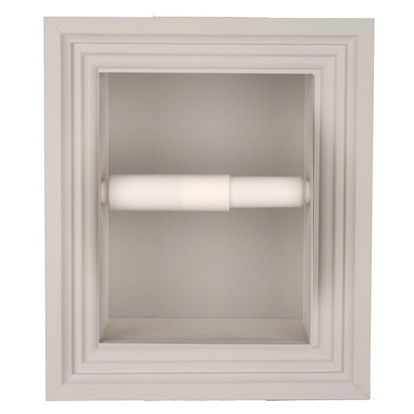 Solid Wood Recessed In Wall Bathroom Toilet Paper Holder Multiple Finishes