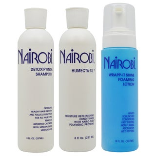 Nairobi 8-ounce Detoxifying Shampoo & Humecta-Sil Conditioner + Wrapp it Shine