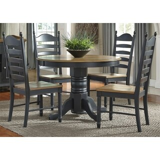 Springfield II Honey and Black Oval Pedestal Dinette Table