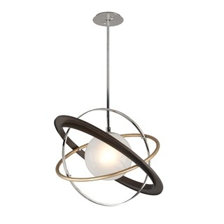 Troy Lighting Apogee 1-light Bronze with Gold Leaf and Polished Stainless 24-inch LED Pendant