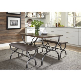 Monroe Rustic Brown And Metal 3 Piece Dinette Set