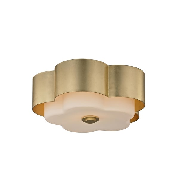 All White With Gold Leaf Ceiling And Degournay Coco: Shop Troy Lighting Allure 2-light Gold Leaf Ceiling Flush