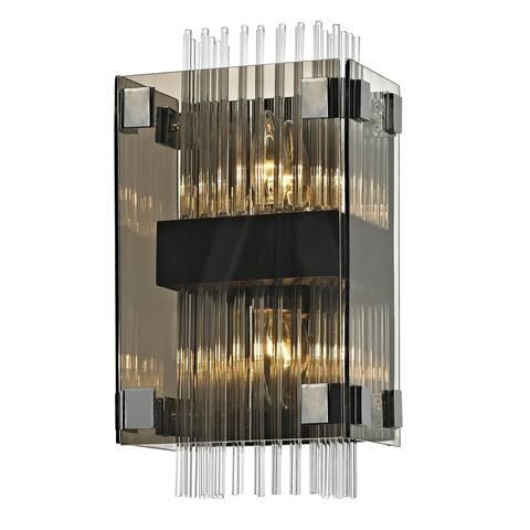 Troy Lighting Apollo 2-light Dark Bronze/Polished Chrome Wall Sconce