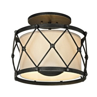 Troy Lighting Palisade 3-light Aged Pewter Semi-Flush Mount