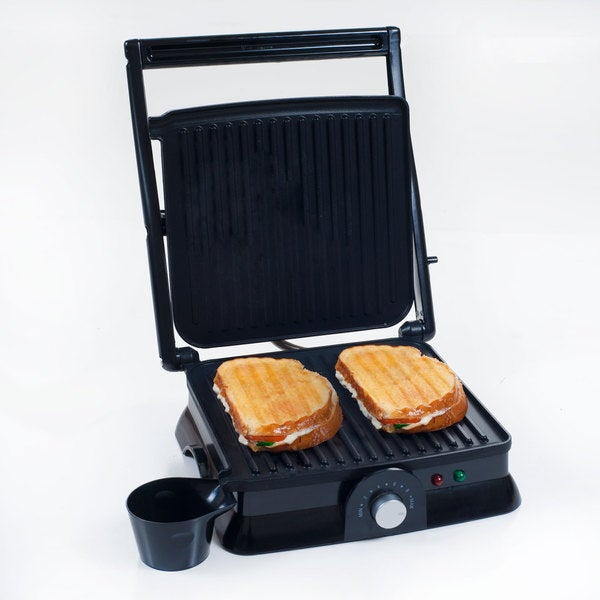 Indoor Grill and Gourmet Sandwich Maker, Panini Press, Electric with Nonstick Plates by Chef Buddy. Opens flyout.