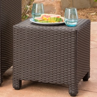 Puerta Outdoor Wicker Accent Side Table by Christopher Knight Home