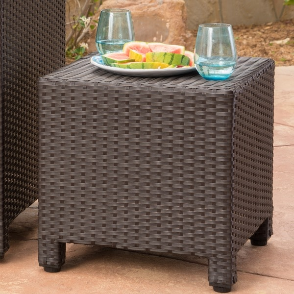 Puerta Outdoor Wicker Square Accent Side Table by Christopher Knight Home