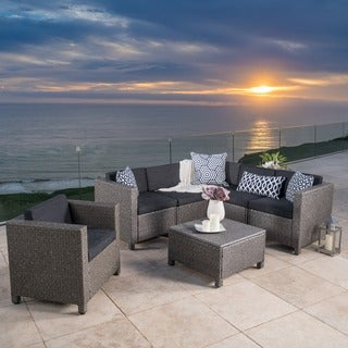 Puerta Outdoor 7-piece Wicker V-Shaped Sectional Sofa Set with Cushions by Christopher Knight Home