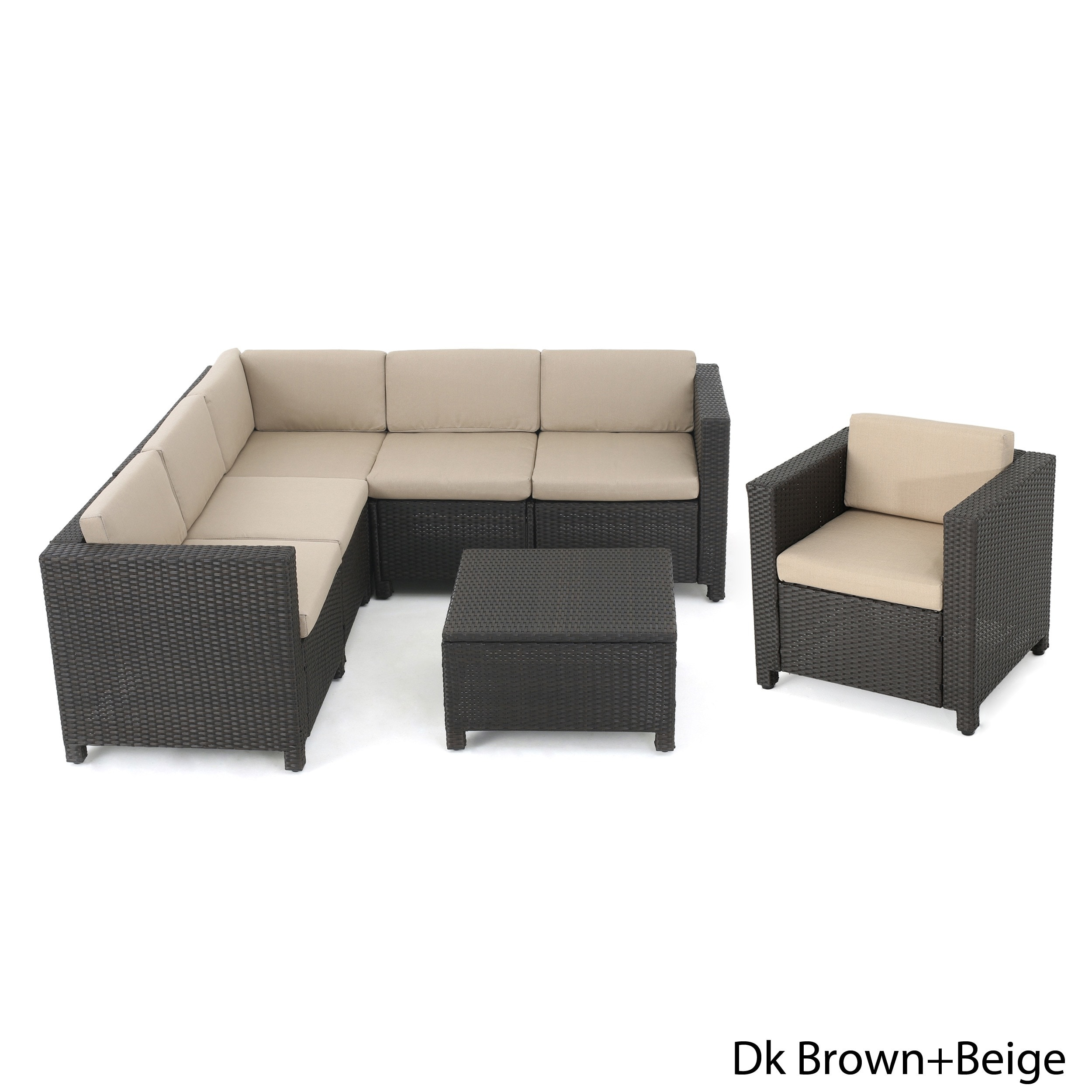 Puerta Outdoor 7-piece Wicker V-Shaped Sectional Sofa Set...