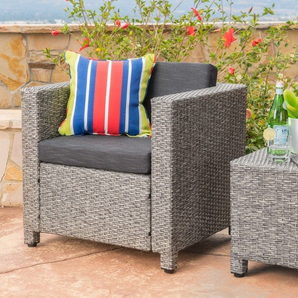 Puerta Outdoor Wicker Club Chair with Cushions by Christopher Knight Home. Opens flyout.